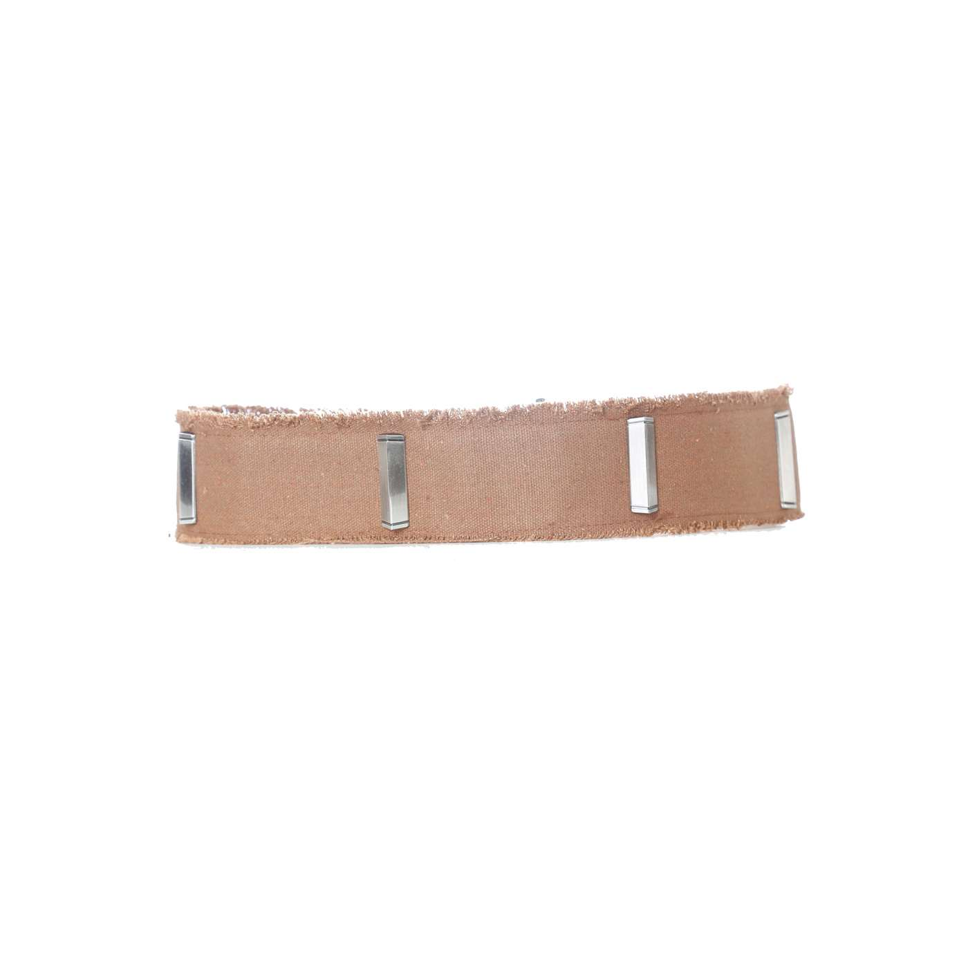 Ceinture camel effet jean à clous rectangle